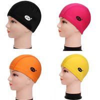 best swim caps for women - The Best Price For Hot Sale Summer Unisex Cloth Swim Cap Solid Color Swimming Hat