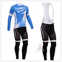 Prezzi Kit e bike-2014 Giant manica lunga Abbigliamento Ciclismo Jersey / vestiti della bicicletta lunga dei pantaloni kit moto insieme montagna MTB bretelle e vestiti