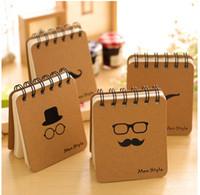 Wholesale 4Pcs Mustache Printing Mini Pocket Notepad Spiral Hard Copybook Daily Memos Kraft Cover Journal Notebooks Estuches