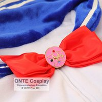 Wholesale New Hot sale Anime Sailor Moon Cosplay Accessories Women Necktie Fashion Bowtie with Brooch Dropshipping