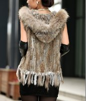 Wholesale Women Real Fur Vest Is Lady Genuine Rabbit Fur Kintted Gilet Hooded Winter Fashion Warm High Quality