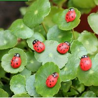 Wholesale 10 Red Mini Wooden Ladybug Shape Sponge Self adhesive Stickers Garden Ornaments Craft For Plant Cute Baby Fridge Sticker