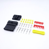 amp kits for cars - 1 Sets Kits AMP Connector Male Female Electrical Wire Connector Plugs For Car Waterproof Six Pins Series