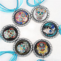 Wholesale The Day of Dead Necklace Blue Ribbon Necklaces Bottle Cap Pendants for Mexico Festival Decoration Skull Pendants Kids Jewelry