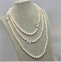 Wholesale 68 quot AAA mm Genuine white akoya pearl necklace14K Gold