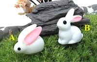 Wholesale fairy garden miniature bunny white color artificial mini rabbits bunny decors resin crafts bonsai decors cute bunny