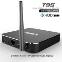 Wholesale Genuine T95 TV Android Box Amlogic S905 Quad Core Wifi TV BOX KODI ADD ONS Pre installed Streaming Player Metal Case T95 vs M10 MXQ