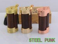 Wholesale Steel punk slug new arrival wooden ecig battery tube mechanical steel punk mod brass gold plated steel punk slug mod with portable bag