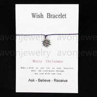 american christmas cards - 2016 hot sale Wish bracelet snowflake merry christmas gift Card with Friendship Charm String DIY bracelet new fashion