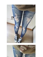 sexy jeans for women - Leggings Slim Pants Tights For Women Sexy European and American Fashion Womens Leggings Seamless Imitation Jeans