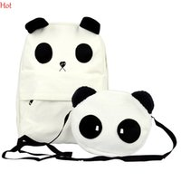 Wholesale Fashion Backpacks Korean Style Womens Lovely Panda Canvas Backpack With Small Panda Crossbody Shoulder Composite Bags White Schoolbag