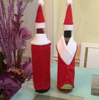 Wholesale Christmas Decoration Red Wine Bottle Covers Clothes With Hats For Home Indoor Christmas Dinner Party Supplies Bottle Covers Antler Hats Tops