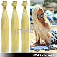 Cheap Hot Sale A Brazilian Virgin Hair Straight 3pcs Lot Remy Human Hair Extensions Hair Weave Blonde Color hair #613