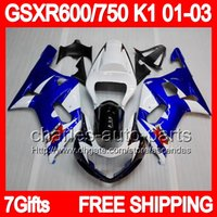 gsxr 600 fairing - 7gifts Blue For SUZUKI GSXR600 GSXR750 GSXR GSX R600 R750 K1 GSXR Factory blue white Fairing Kit