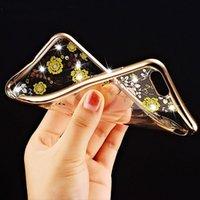 achat en gros de dentelle rose coque iphone-4.7 pouces Cas de diamant de Bling Flash Light TPU souple téléphoniques impression des motifs de dentelle rose pour iPhone 6 6S cas, le recouvrement MOQ de la peau: 100pcs
