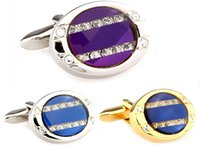 Wholesale Classic oval crystal Cufflinks gold white blue purple Mens Jewelry cheap Cuff links french wedding Perfect Gift