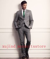 Wholesale Grey Two Buttons Wedding Suits For Men Notched Lapel Groom Tuxedos Groommens Suits Bestman s Wedding Suits jakcet Pants Tie