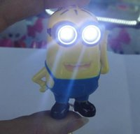 key rings - 3D Despicable Me Minion Vocalization Light LED Keychain LED Charm Keychain Keyring A109 Key Ring New Cute Gifts CARD Package