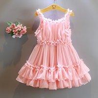 fairy - 2015 Children Pink Flower Dress Girls Korean Style Chiffon Princess Dress Kids Fairy Sundress Sleeveless Dress