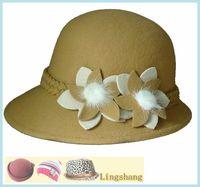 Wholesale Popular Leisure Winter Woolen Bucket Hat with Flowers