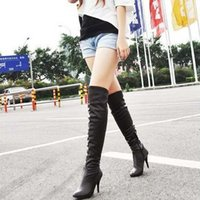 Wholesale New Warm PU Leather Winter Boots For Women Designer Over Knee High Heel Women Boots Plus Size Women Shoes