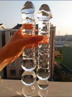 Big vidro Dildo enorme cristal Penis dupla terminou Grande pirex grânulos anais Butt Plug Ass Bolas Brinquedos para sexo para mulheres homens lésbicas gay