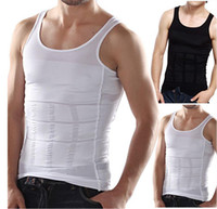 beer belly men - Wholesales Men s Slim Moisture Minus the Beer Belly Shaping Underwear Abdomen Body Sculpting Vest Shapers Body Sculpting T shirt Body Shaper