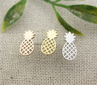 Pineapples - Summer Fruit Earrings Gold Plated Stainless Steel Unique Cute Pineapple Ear Cuff Post Earring For Women