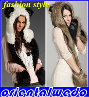 Wholesale 1 PC Fashion fur hat female winter animal cap faux fur one piece cartoon cap belt scarfnew arrive