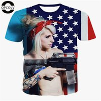 american flag tshirts - w151231 OPCOLV New Fashion Women Men d American Flag And Gun t shirt Casual Harajuku tshirts Female Funny Graphics Punk d t shirt Tops