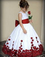 red ribbon rose - Red And White Bow Knot Rose Satin Ball Gown Wedding Flower Girl Dresses Crew