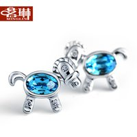 aquamarine earrings - Ming Lin Austria crystal silver small horse aquamarine earrings female Korean fashion