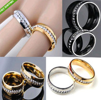 Wholesale 20pcs Golden silver Comfort Fit Zircon Stainless Steel Rings Full circle with CZ Jewelry