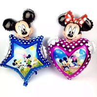 Wholesale 63 cm Christmas Aluminum Balloons Minnie Mickey Head balloon five pointed star Decorations Party Supplies Children s Inflatable Toy00