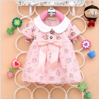 Wholesale girls dress new European and American cotton big bow bunk lace dress long sleeve Children T shirt