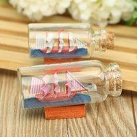 Wholesale 1pc Sailing Boat Drift Bottle Home Decor Mediterranean Style Mini Charm Glass Bottle Small Cork Glass Vial Two Size Choice