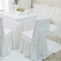 bamboo dining chairs - 1piece white Princess lace tablecloth for wedding decoration luxury rose dining table cloth chair cover table cover size custom