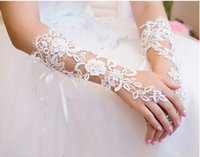 Wholesale Bridal Gloves About cm Luxury Lace Diamond Flower Glove Hollow Wedding Dress Accessories HQ0900
