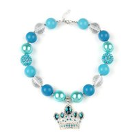 Wholesale Aquamarine Crown Pendant Acrylic Chunky Beaded Necklace Princess Girl Necklace For Baby Children Spring Dress Accessories Jewelry Decoration