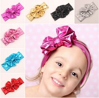 baby products market - 2015 Children Fashion Hair Accessories Bronzing Big Bowknot Hair Ribbon Elastic Headband Baby Accessories New Products On The Market