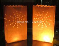 Wholesale 100pcs pack white flame retardant paper wax candle bag Luminaries with sunburst design decoration size in cm