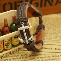 anchor material - Free Ship Fashion anchor Leather Bracelet Cute Charm Bracelets HandWoven Anchor Alloy Material Woven Bracelets Best Friend Gift