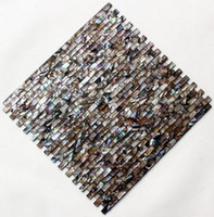 Wholesale Coffee Strip tiles pearl mosaic tiles mother of pearl shell mosaic tiles home decoration living room kitchen back splash shell tiles FedEx