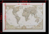 Cheap Whole sale free shippinig 2PC New 2014 Vintage Style Archaize Exquisite Canvas World Map 130*90cm wall sticker
