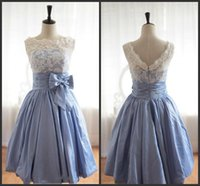 Wholesale 2015 In Stock Light Sky Blue Knee Length taffeta Homecoming Dresses party dresses Under Real Sample Corset Sweet heart