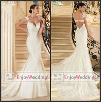 Wholesale Elegant Sexy Cap Sleeves Lace Mermaid Wedding Dresses Tulle Lace Applique Backless Court Train Bridal Gowns V1397