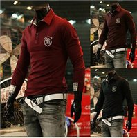 Wholesale New Fashion Mens Casual Polos Fresh style Turn down Collar Slim fit Long sleeve T shirts Piece
