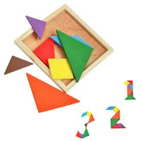 baby child development - Wholesales Funny Jigsaw Puzzle Wooden Toy Gift Baby Kid Children Intellectual Development l Educational Geometry Tangram VE0023 salebags
