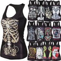 Wholesale New women shirt Painting Cool Pattern D Skull bone Camisole Sexy print Vest Tanks Tops Drop shipping
