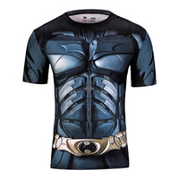 Wholesale marvel batman compression shirt fitness tights crossfit quick dry short sleeve t shirt gym sport tee tops clothing